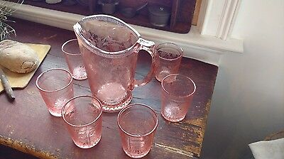 PINK STRAWBERRY WATER SET DEPRESSION GLASS