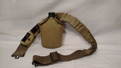 Vintage Canteen Belt w/ Labeled Pockets, Easy Buckle, Extra Loops, Metal Canteen