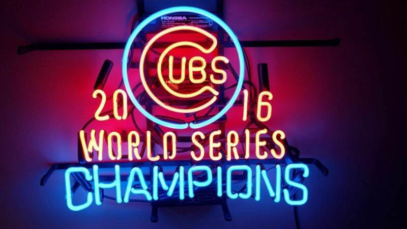 "Chicago Cubs 2016 World Series Neon Sign 20""x16"" Light Lamp Beer Bar Decor Glass"