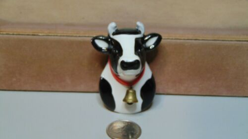 "GANZ CERAMIC COW HEAD FIGURE WITH BELL REFRIGERATOR MAGNET 2"" X 2 3/4"""