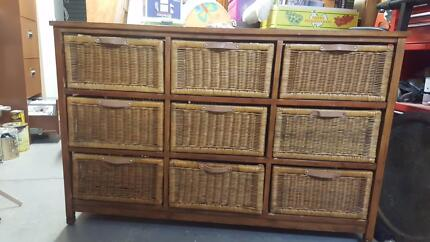 Timber Cabinet With Basket Shelves