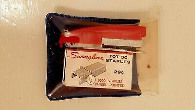 Vintage Swingline Mini Tot 50 Red Mini Stapler Wstaples Portable Pocket Euc