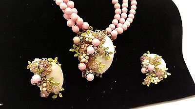 Vintage Pink Glass Miriam Haskell Necklace and Earrings with Mother of Pearl