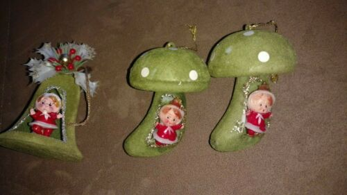 3 Vintage Green Flocked Christmas Decor Green Bell Ornament Elf mushrooms