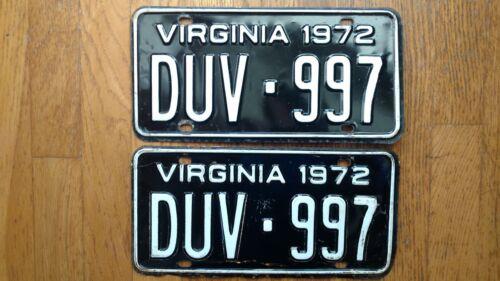1972 Virginia License Plates Tags Pair VA