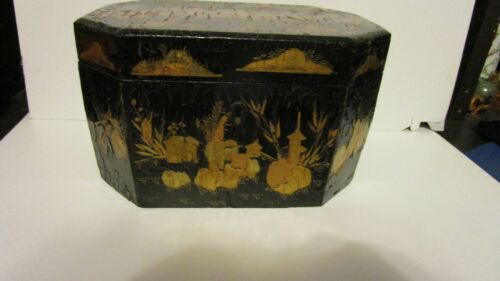 Antique Japanned Tole Tea Caddy, Tin Containers Inside