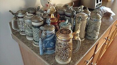 16 AVON COLLECTABLE STEINS, ALL IN GOOD CONDITION