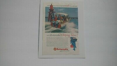 1956 EVINRUDE OUTBOARD MOTOR Vintage Print Ad Whispering Power!