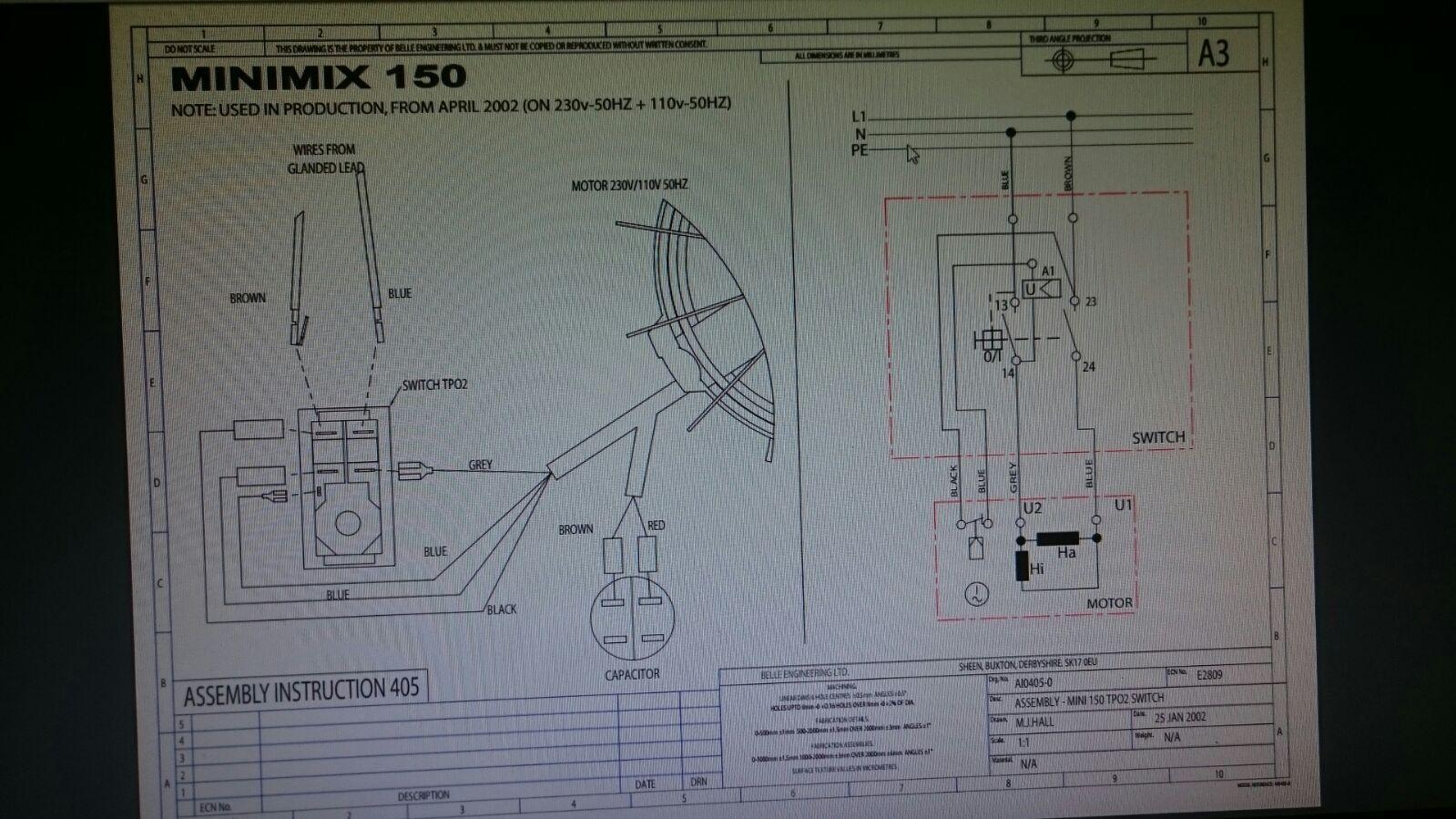Belle cement concrete mixer v on off switch minimix