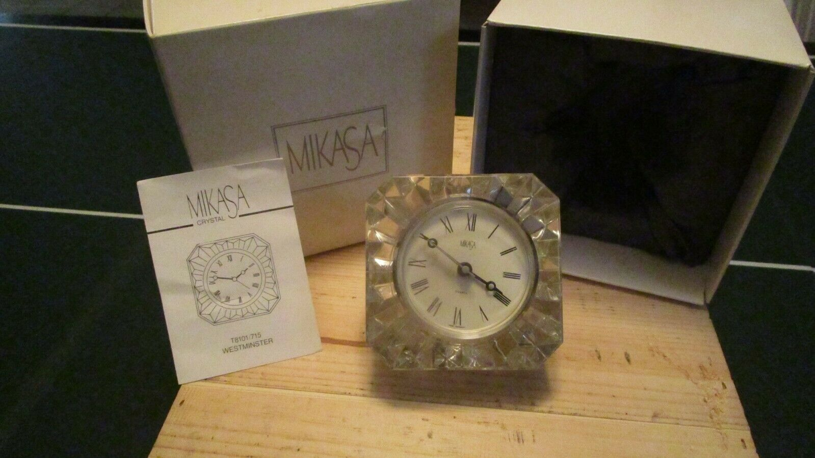 Mikasa Crystal Westminster Square Mantel Quartz Clock - $65.00
