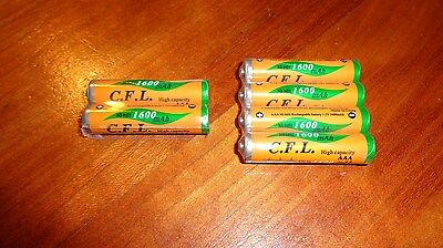 6 NiMH AAA Rechargeable Batteries for Panasonic KXTG Phones HHR-4DPA HHR-65AAABU