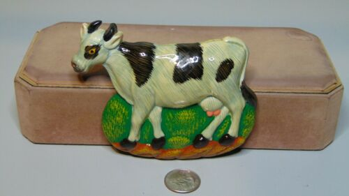 "PLASTIC COW FIGURE FRIDGE MAGNET BLACK AND WHITE 4 1/2"" X 3 3/4"""