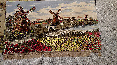 Vintage Holland Tulips Windmills Tapestry Wall Hanging Netherlands Large Fabric