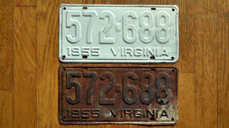 1955 Virginia License Plates Tags Pair VA