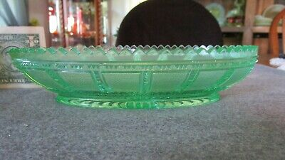 IMPERIAL GLASS GREEN URANIUM BEADED BLOCK/FROSTED BLOCK OVAL CELERY DISH