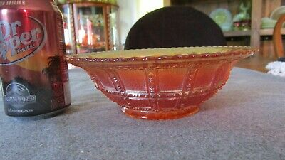 "IMPERIAL MARIGOLD CARNIVAL GLASS BEADED/FROSTED BLOCK 7 1/2"" FLARED BOWL #2"
