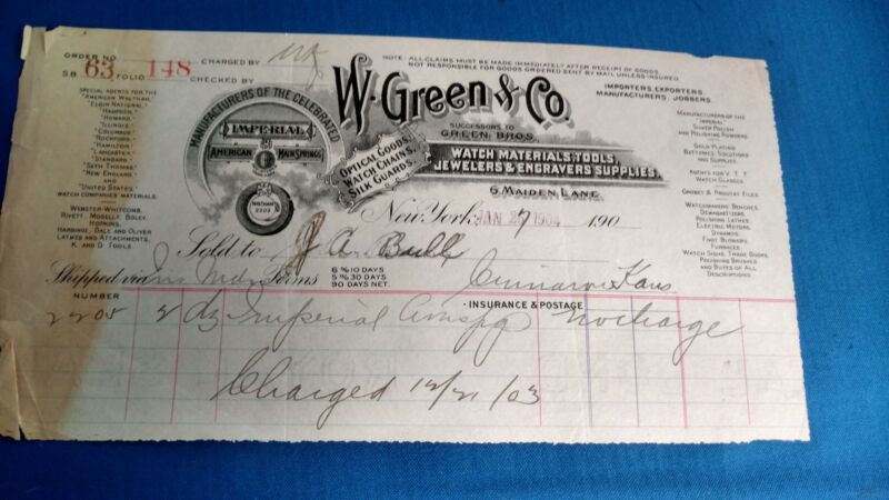 Vintage Antique 1904 W. Green Bros and Company Watch Jewelers invoice