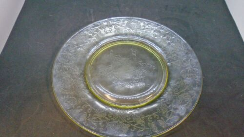 "Yellow Depression Glass Oval Relish Plate 8 1/4"" Inch Diameter"