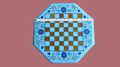 "SIZE 15"" MARBLE MALACHITE  OCTAGON SIDE CHESS TABLE TOP MOSAIC LAPIS INLAY"