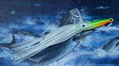 "LOT OF 5 3D SQUIRT SQUID FISHING LURE 7/"" PINK W// DOTS TUNA MARLIN MAHI MAHI"