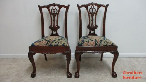 Pair Custom Antique Mahogany Chippendale Dining Romm Side Chairs Ball Claw C