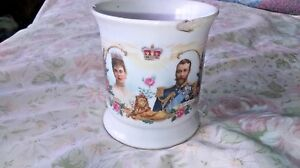 RARE VINTAGE KING GEORGE V AND QUEEN MARY IRONSTONE  SOUVENIR CUP MUG