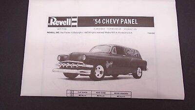 REVELL 1954 CHEVY PANEL 409 PLASTIC MODEL CAR INSTRUCTION SHEET 7139 ©1987