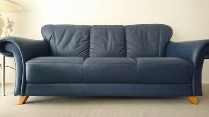 Leather sofa navy blue- 3 piece set dc9eb922a0