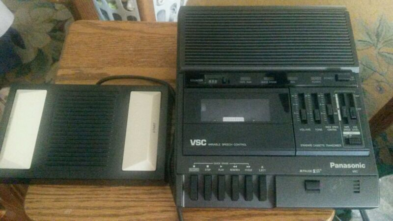 Panasonic transcription machine variable speech control with foot pedal cassette