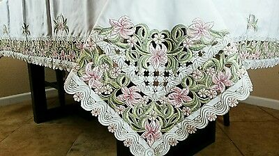 """Rectangle Polyester 72x90"""" Floral Cutwork Embroidery Tablecloth Dining Table"""