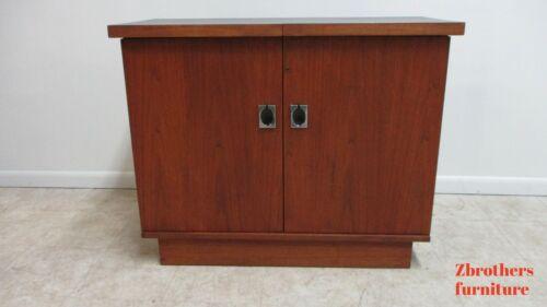 Mid Century Danish Modern Walnut Server Bar Cart Liquor Cabinet