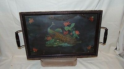 ANTIQUE DECORATIVE WOODEN FRAME DRESSER TRAY WITH TWO PEACOCKS AND FLOWERS