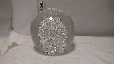 (Clear glass controlled bubble glass ball paperweight flat bottom US Seller)