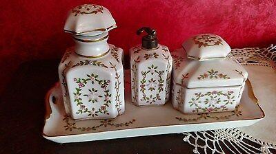 VTG Vanity Hand Painted Porcelain Dresser Set Tray Gold Floral Vine