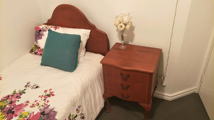 Queen Anne single bed and bedside drawer