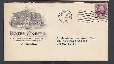 USA 1934 HOTEL ONEIDA ILLUSTRATED COVER ONEIDA TO UTICA NEW YORK Hotel Oneida