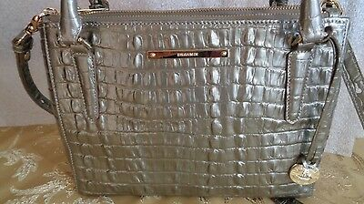 Brahmin Croco Embossed Leather Handbag Lincoln Crossbody Pyrite La Strata NEW
