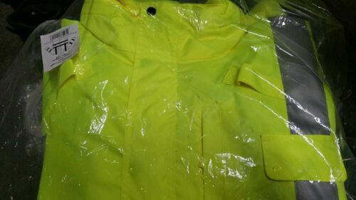 PIP 353-2000-LY/L Class Waterproof Rain Jacket 3M Scotchlite  ~ Large