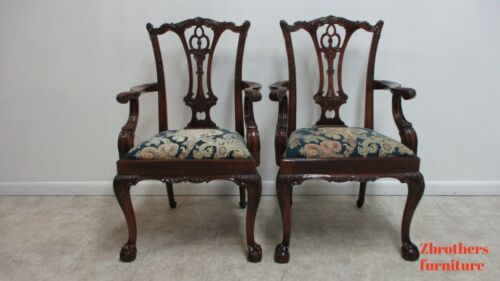 Pair Custom Antique Mahogany Chippendale Dining Romm Arm Chairs Ball Claw