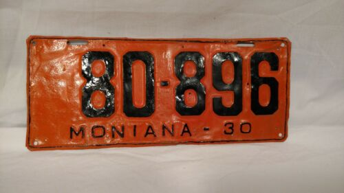 1930 Metal License Plate #80-896, Orange and Black, Montana