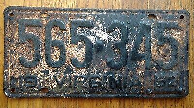 1952 Virginia License Plates Tags VA