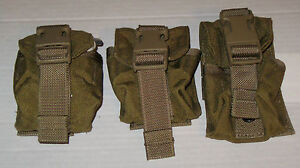 Lot-o-3-Army-Military-Surplus-MOLLE-Coyote-Brown-Frag-Grenade-Pouch-Eagle-MARSOC