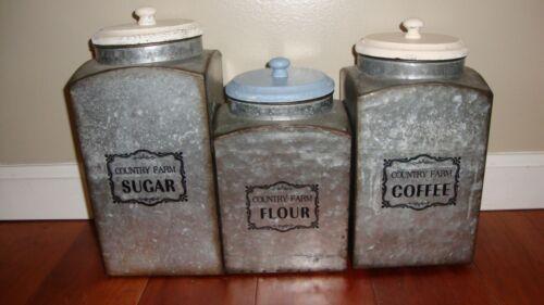 Rustic Galvanized Iron Kitchen Canisters Flour Sugar Coffee Farmhouse Decor