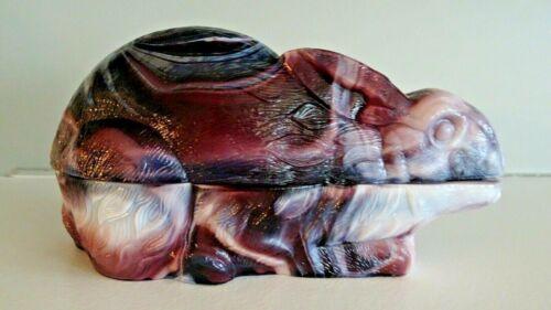 Vintage LG WRIGHT Glass Amethyst Purple Slag Bunny Rabbit Covered BOX Dish