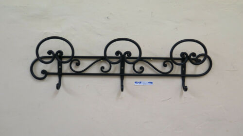 Coat Hangers Wall A 3 Hooks Wrought Iron Forged by Hand Vintage CH18