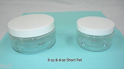 4oz/ 8 oz Short PET Plastic Clear Containers Jars w Lined Cap Pick Lot & Color