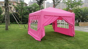 10x10 ez pop up 4 walls canopy party tent gazebo with sides pink 6051