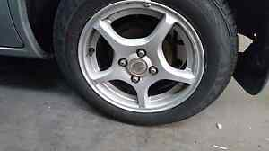 MAZDA 323 BJ FORD LASER 1990-03 14 ALLOY WHEELS NEW MAXXIS TYRES Yatala Gold Coast North Preview