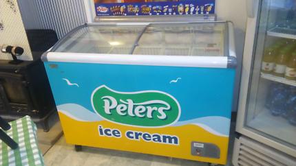 Icecream freezer double slide glass deep storage 6 baskets