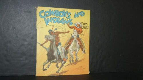 1937 COWBOYS AND INDIANS NO. 2150 CUT-OUT PAPER DOLLS & ACCESSORIES by SAALFIELD